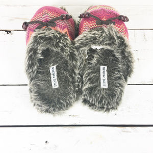 Steve Madden Shoes - Steve Madden Knit Faux Fur Aztec Slip On Slippers